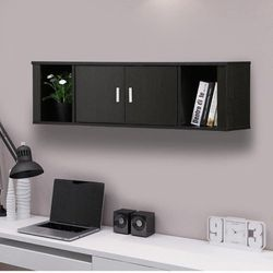 Topeakmart Wall Mounted Floating Media Storage Cabinet Hanging Desk Hutch 2 Door & Compartment for Sale in Tampa,  FL