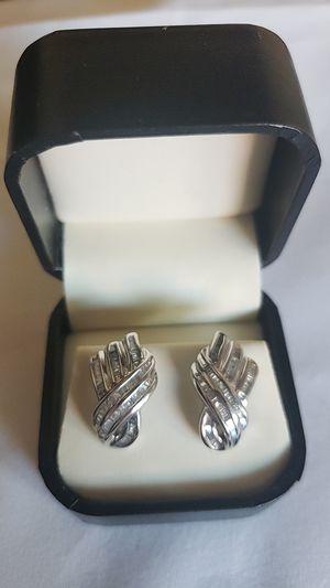 Genuine 10K white gold diamond earrings for Sale in Parker, CO