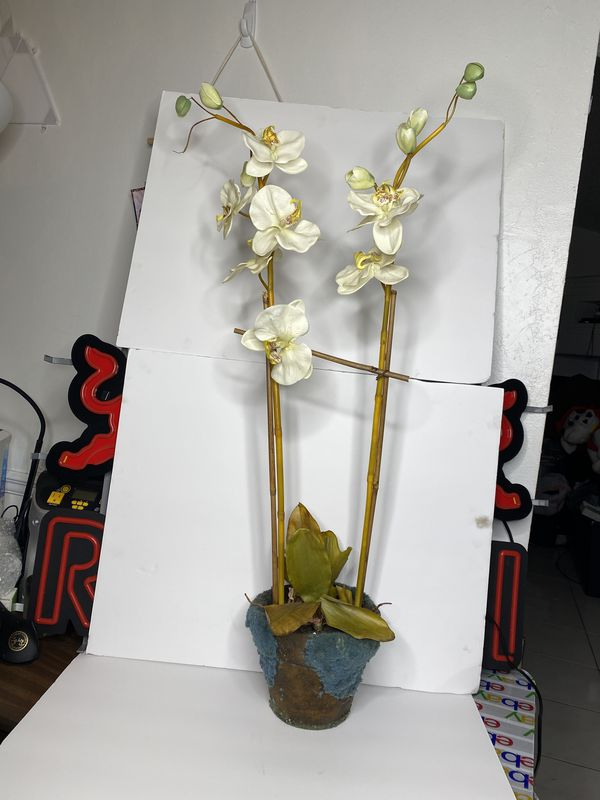 Tall White Silk Fake Double Orchids Plants Home Decor