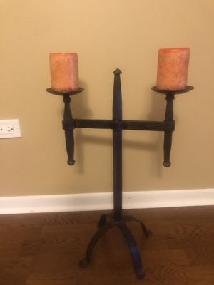 Large Rustic Iron Patinated Mid-evil Style Candle Holder (includes the two candles shown) for Sale in La Grange Highlands, IL