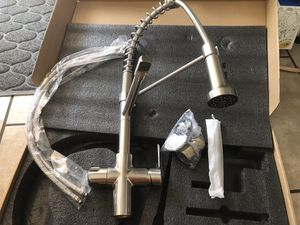 Brand new stainless steel kitchen faucet two heads faucets come with hot/cold water hoses Brush Nickel for Sale in Laveen Village, AZ