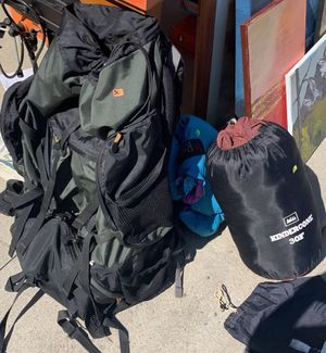Camping gear: two sleeping bags, queen air mattresses, large backpack for Sale in Littleton, CO
