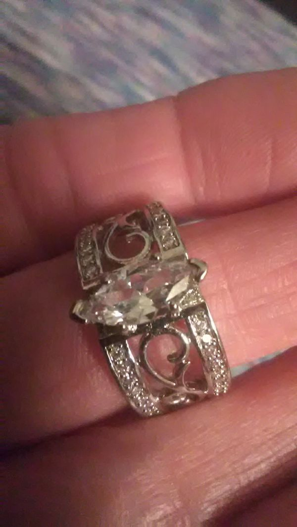 Size 8 white topaz and 925 Sterling wedding band, engagement ring