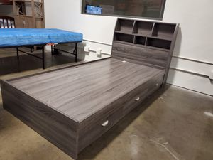 Twin 3-Drawer Storage Bed Frame with Headboard, Distressed Grey for Sale in Santa Ana, CA