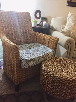 Sea Grass accent chair with foot stool for Sale in San Jose, CA