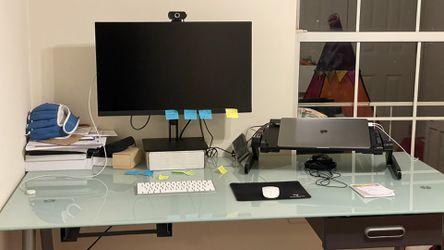 Glass Top Office Desk, Height Adjustable  for Sale in Herndon, VA