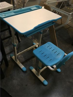 New in box children kids day care 3 to 10 year old desk and chair set height adjustable for Sale in Pico Rivera, CA