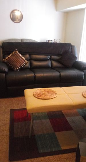 All black leather recliner sofa and loveseat..Movie theater style with cup holders for Sale in District Heights, MD