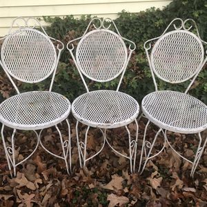 Vintage wrought iron patio chairs (set of 3) for Sale in Smyrna, TN