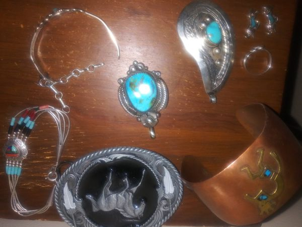 .925 sterling and turquoise jewelry bundle