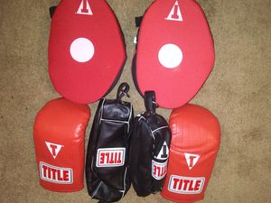 Title striking targets 5 pair Title bag glove 5 pair. 2 Title double end speed bags brand new for Sale in Philadelphia, PA