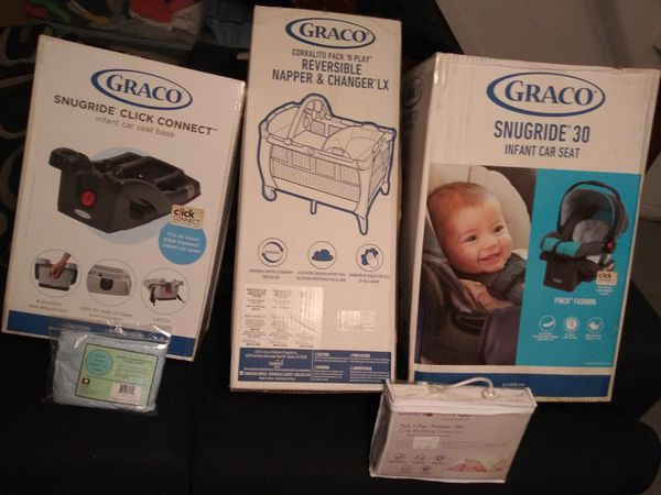 Infant car seat, Car seat base, and pack n play