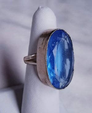 Big blue topaz and sterling silver ring, size 7 for Sale in Bangor, ME