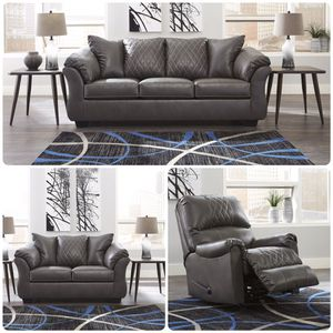 Gray leather sofa & loveseat & rocker recliner for Sale in League City, TX