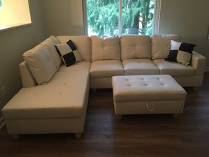 New white faux leather sectional couch with storage ottoman for Sale in Renton, WA
