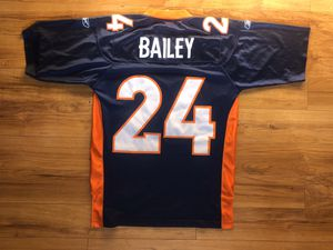 Vintage Reebok Denver Broncos Champ Bailey #24 Sewn Blue Jersey Men's Size Large This jersey is in excellent condition for Sale in Santee, CA