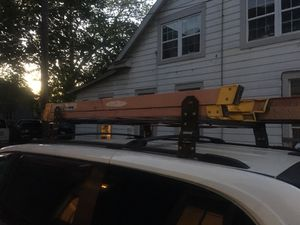 28 and 6 feet ladders for doing Cable Job (Xfinity) + FREE rocks on the roof on the car (no drill holes needed) for Sale in Houston, TX