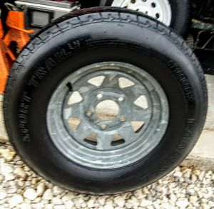 FOR SALE ONE BRAND NEW GALVANIZED TRAILER TIRE AND WHEEL! for Sale in Austin, TX