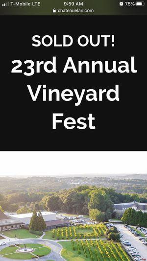 Vineyard Fest Tickets at Chateau Elan for Sale in Atlanta, GA
