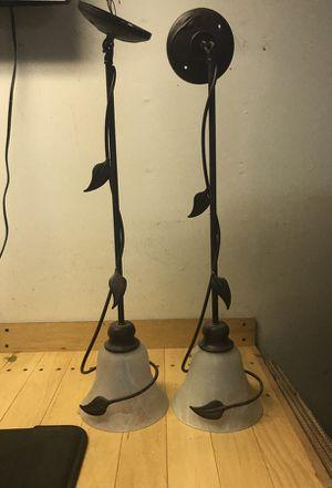 Hanging Pendant Light Bronze Brushed Metal Leaf for Sale in Santee, CA