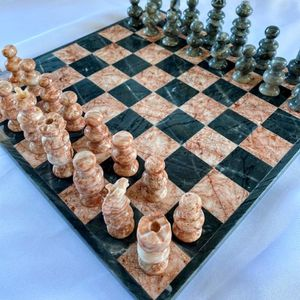 Chess Set Gray And Pink Marble Hand Carved for Sale in Bonita, CA