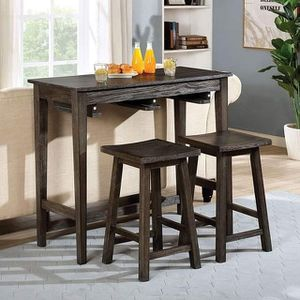 GRAY FINISH SPACE SAVER 3 PIECE CONSOLE DINING COUNTER TABLE STOOLS / MESA SILLAS BANCOS for Sale in Hemet, CA