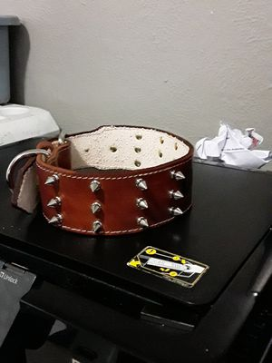 Dog collar Medium and large 2 inches wide 100% leather (collar para perros M Y L con pikos y nombre ) for Sale in Dallas, TX