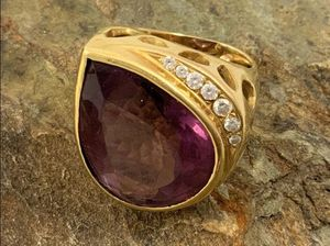 14kt Pear Shape Amethyst & Diamond Statement Ring for Sale in Roswell, GA