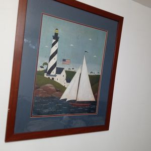 "Warren Kimble Folk Art Print - Coastal Breeze Lighthouse & Sailboat 28.5x24"" for Sale in Chicago, IL"