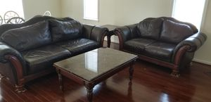 Like new 3 pc sofa set all leather w/ 4 tables for Sale in Manassas, VA