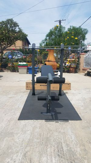 Standard width adjustable bench press with leg developer and bar Brand new in box for Sale in Montebello, CA