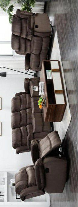 🆕Best Deal♨️Same Day Delivery.🍃Black Friday Sale‼️Brownie Cocoa Short Plush Reclining Living Room Set Sofa & Loveseat & Recliner for Sale in Columbia, MD