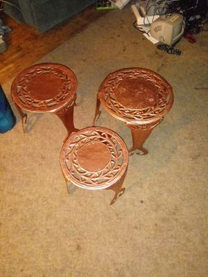 3 Stackable copper tables or plant stands for Sale in Federal Way, WA