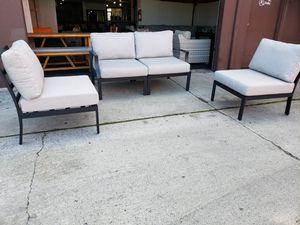 New 4 piece aluminum metal outdoor patio furniture lounge loveseat set for Sale in Chula Vista, CA