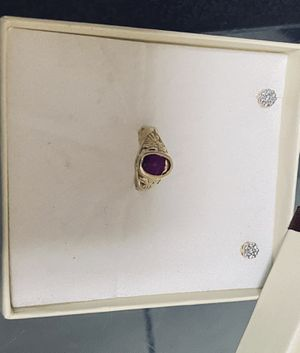 365$ 14k diamond earrings and 14k ring with ruby for Sale in Washington, DC
