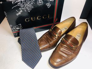 Men's horsebit GUCCI loafers size 42 with tie very nice for Sale in Dublin, OH