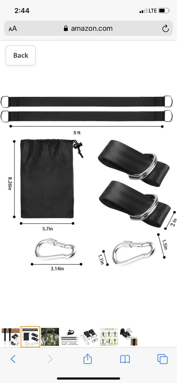 Tree Swing Hanging Kit Straps Hold 1200 LBS Extra Long 5ft Tire Rope w/Carabiner