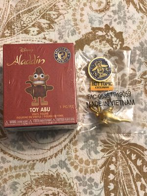 New Funko Disney Aladdin Toy Abu, Magic Lamp Keychain and Pin $10 for all for Sale in Spring Hill, FL