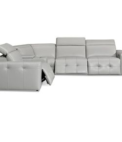"""Haigan 5-pc Gray Leather """"L"""" Shape Sectional Sofa with 2 power Recliners from Macy's Haigan 5-pc Gray Leather """"L"""" Shape Sectional Sofa with 2 power R for Sale in Puyallup,  WA"""