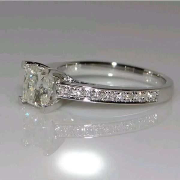 .72ct stimulates diamond gold plated wedding engagement ring women's jewelry accessory