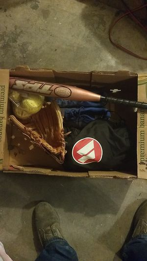 Softball glove bat balls and cleats for Sale in Glendale, AZ