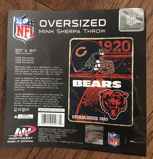 Brand New NFL Chicago Bears Oversized Mink Sherpa Throw Blanket for Sale in Chicago, IL