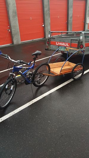 Mountain bike and trailer, lights, U-lock, speedometer for Sale in Hillsboro, OR
