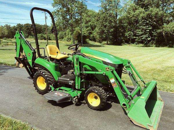 John Deere 1023E Tractor Loader Backhoe 54D Mid Mower