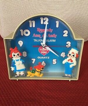 Vintage 1970 Raggedy Ann & Andy and dog talking alarm clock, vintage collectable, vintage clock, vintage cartoon for Sale in Raytown, MO