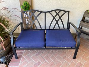Patio Bench- metal. 2 blue cushions included for Sale in Murrieta, CA