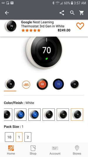 Google Nest Learning Thermostat 3rd Gen in White for Sale in Los Angeles, CA