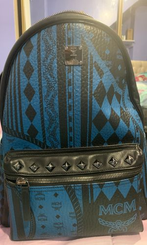 Brand new MCM black and blue studded backpack for Sale in Los Angeles, CA