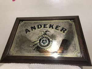 Vintage Andeker Pabst Brewing mirror with wood frame for Sale for sale  Des Plaines, IL