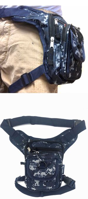 Brand NEW! Blue acu Camouflage holster style drop leg thigh bag waist hip fanny pack motorcycle work utility hiking biking pouch for Sale in Carson, CA